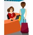 happy female receptionist vector image vector image