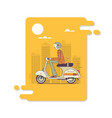 hipster man riding fast retro scootersmodern thin vector image vector image