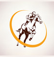 Horse race stylized symbol jockey riding a horse