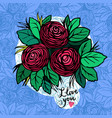i love you card with roses vector image vector image