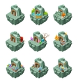 Isometric Mining Islands Set vector image