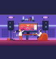 kids streaming game children play with console vector image vector image