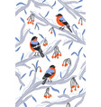 little bullfinch birds outside my winter window vector image