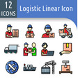 logistic color line icon vector image vector image