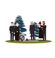 men and women dressed in mourning clothes standing vector image