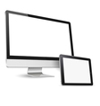 Modern computer display and tablet computer vector image