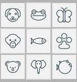 nature icons set with koala frog seafood and vector image