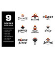 nine coffee badge design vector image vector image