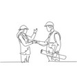 one line drawing young architect woman vector image vector image