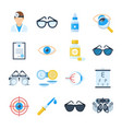 Ophthalmologist equipment icons in a flat style