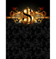 ornate frame with dollar vector image vector image