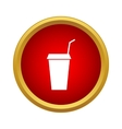 Paper cup with lid and straw icon simple style vector image vector image