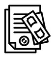 paper pass bribery icon outline style vector image