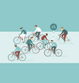 people riding bicycles on busy street vector image vector image