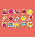 pop art comic set stickers pins patches vector image