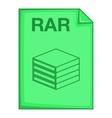 RAR file icon cartoon style vector image vector image
