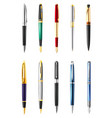 realistic business pen icon set vector image vector image
