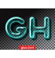 Realistic glass alphabet font vector image