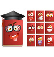 Red book with facial expressions vector image vector image