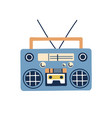 retro boombox audio tape recorder in 80s and 90s vector image