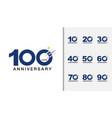 set of anniversary logotype modern anniversary vector image vector image