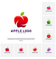 set of apple logo design concept fruit apple vector image vector image