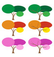 set of color tree in many season vector image
