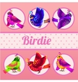 Set of six birds on a pink background vector image