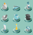 spa color isometric icons vector image vector image