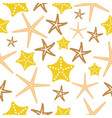 starfish seamless pattern on white background vector image
