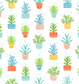 Succulents colorful doodle pattern vector image vector image
