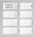 ticket template set modern mock up wedding vector image