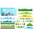 trendy set different flat elementstrees vector image