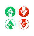 up and down arrows with euro sign in flat icon vector image