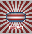 vintage badge with veterans day text vector image