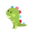 cute cartoon green dragon animal toy colorful vector image