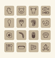 flat icons set of foods outline concept vector image