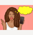 african american woman holds smartphone vector image