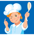 Boy cook with a spoon on a blue background vector image vector image