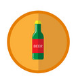 bright round with beer bottle vector image vector image