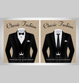 business suit template with a black tie and white vector image vector image