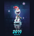 cartoon snowman vector image vector image
