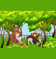 children and animal in nature vector image