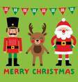 christmas cartoon characters santa claus vector image