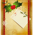 Christmas greeting card with holly vector | Price: 1 Credit (USD $1)