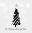 christmas tree stars stamp vector image