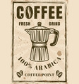 coffee vintage poster with moka pot vector image