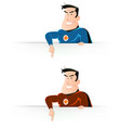 comic super hero pointing sign vector image vector image