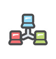 computer network scheme icon cartoon vector image