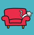 cute white cat resting on red sofa cartoon vector image